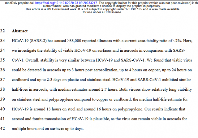 """Viable HCoV-19.. detected:  in aerosols up to 3 hours  up to 4 hours on copper  up to 24 hours on cardboard  up to 2-3 days on plastic & stainless steel  Median half-life estimate around 13 hours on steel & around 16 hours on polypropylene"" #coronavirus"